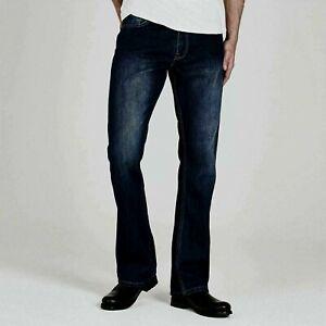 Firetrap Men Tokyo Jeans Trousers Bottom Denim Bootcut Fit Black 34W S  A131-1