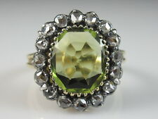 Edwardian Antique Rose Diamond Ring Peridot Estate Vintage 18K Silver Size 5.25