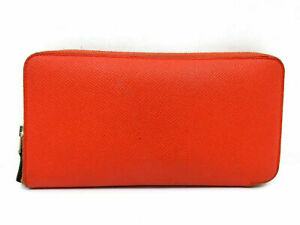 Authentic HERMES Azap Long Silk In Zip Around Long Wallet Leather Pink 63665