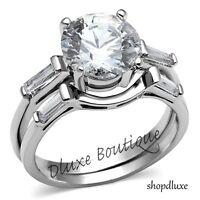 3.50 Ct Round Brilliant Cut CZ Stainless Steel Wedding Ring Set Women's Sz 5-11