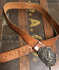 Vintage 1970's Bergamont Brass Works Buckle and Leather Belt Size 32-38 Waist