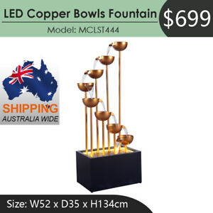 LED Copper Bowls Cascade Water Fountain MCLST444 Australia Wide