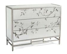 """48"""" W Dresser Reverse Painted Branch Leaf Motif Brushed Silver Hand Painted"""