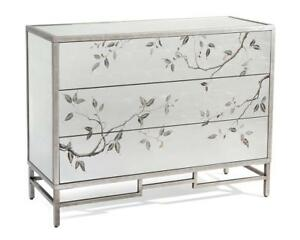 "48"" W Dresser Reverse Painted Branch Leaf Motif Brushed Silver Hand Painted"