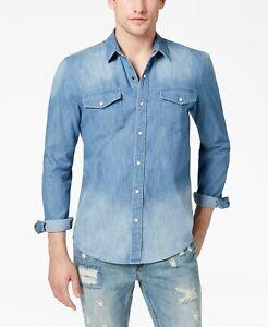 $115 American Rag Men Blue Denim Long-Sleeve Button Top Cotton Western Shirt 2XL