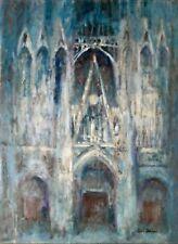 Jean BREANT - Peinture originale - Huile - La cathédrale bleue