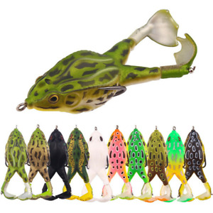 3D Eyes Double Propeller Thunder Frog Soft Bait Topwater 90mm 13.6g - 10 colors