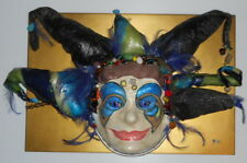 Paper Mache Mardi Gras Hand Painted Masquerade Mask Full Size Artwork