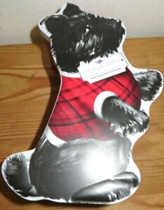 Edinburgh Bakery Black Scottie Dog Shaped Empty Collectable Biscuit Tin & Lid