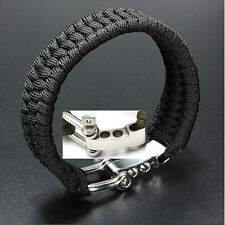 New Black ParaCord Rope Survival Bracelet Outdoor Camping Steel Shackle Buckle