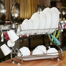 2 Tier Large Capacity Dish Drainer Drying Rack Kitchen Storage Stainless Steel