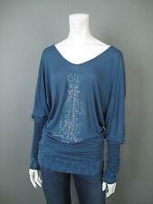 Christian Audigier M  Blue Peasant V Neck Shirt Top Embellished Crystal Monogram