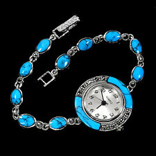 Sterling Silver 925 Genuine Cabochon Turquoise and Marcasite Watch 7.5 Inch