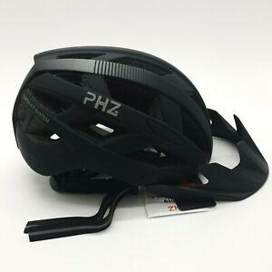 PHZ Adult Bicycle Helmet Black Ultra Lightweight Safety LED Rear Visor CE Medium