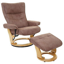 MCA fauteuil relax Montreal + tabouret, tissu charge max. 130kg ~ marron antique