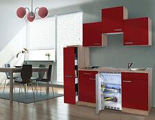 Respekta Cucinino Mini Cucina Singola 180 cm Rovere Ruvido-Segato Rosso Ceran