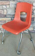 "Vintage Mid Century Retro Orange Polyethylene 17"" Artco Bell Chair with Wheels"