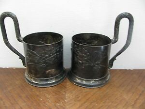 2 ANTIQUE RUSSIAN SILVER TEA GLASS HOLDER PAIR ART NOUVEAU  after HLEBNIKOV