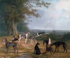 "Jacques-Laurent Agasse, Nine Greyhounds in a Landscape, Dogs, 14""x11"" Art Print"