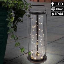 LED Solar Leuchte Glas Hänge Steh Laterne Garten Außen Beleuchtung Balkon Lampe