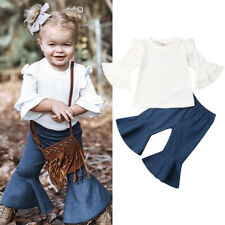 2PCS Toddler Kid Baby Girl Ruffle T-shirt Tops + Flared Pants Clothes Outfit Set
