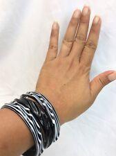 Stunning Modernist Black White Art Glass Bangles Bracelets