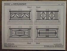 Planche de coupe,modéles balcons fer forgé 1935,