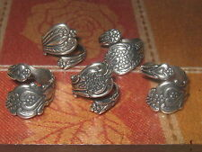 WHOLESALE LOT OF 5 SILVER PLATED HEART FLORAL SPOON RINGS SIZES 6-10 ADJUSTABLE