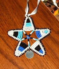 Unique Handmade  Beaded Star Christmas Ornament w/ disk  African Samburu S03