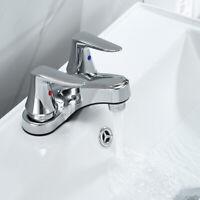 "4"" Chrome Bathroom Basin Sink Faucet Lavatory 3 Holes 2 Handles Vanity Mixer Tap"