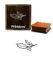 Printtoo Christmas Holly Berries With Leaf Design Wooden Rubber Stamp-PRB-997