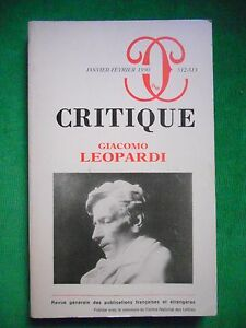 GIACOMO LEOPARDI CRITIQUE NO 512 513 JAN FEV 1990 EDITIONS DE MINUIT