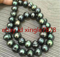 Genuine 9-10mm Baroque South Sea Black Tahitian Pearl Necklace 20'' AAA++