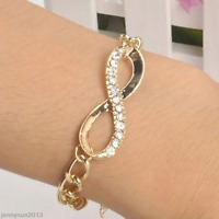 Fashion Women Crystal Rhinestone Gold Plated Bangle Cuff Charm Bracelet Jewelry