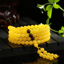1pcs 108 Beads Gold round beads baltic amber Necklace butterscotch Xmas Gift