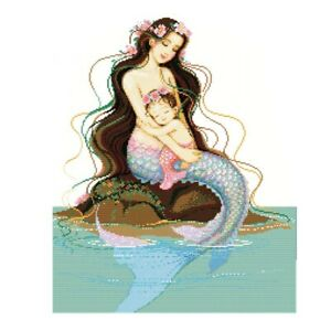 Mermaid and Child  14CT Aida Counted Cross Stitch Kit Size 43 x 50cm