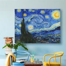Starry Night Van Gogh Art Print Canvas Painting Framed Wall Home Decor 12x16""
