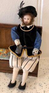 Dolls house miniature 1:12 Medieval / Tudor porcelain man doll - FULLY POSABLE
