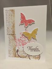 "Card Kit Set Of 4 Stampin Up Timeless Textures Butterflies ""Thanks"""