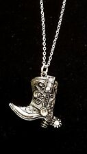 Cowgirl Cowboy Boot bling necklace western wear necklace silver chain