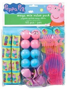 48ct PEPPA PIG Birthday Mega Mix Value Favors Pack Party Decorations Supplies ~