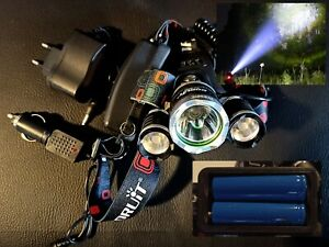 Lampe Frontale Rechargeable 3 torches 90000LM LED T6