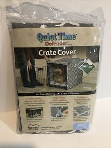 "Midwest Quiet Time Dog Crate Cover- Small 24"" (GEOMETRIC GREY) New Free Shipping"