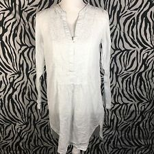 L.O.G.G.BY H&M Women's Peasant Blouse Tunic Long Sleeve Size XM White Deep V