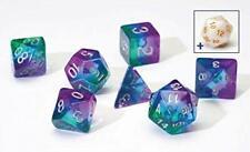 Sirius Blue Aurora 7 Dice Set + White d20 D&D dungeons dragons purple rpg Z