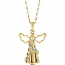 Diamond Angel Ash Holder Necklace 10K Yellow Gold .03 Ctw