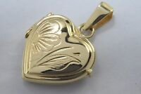 VTG 14k Solid Yellow Gold Picture Locket Pendant Hinged