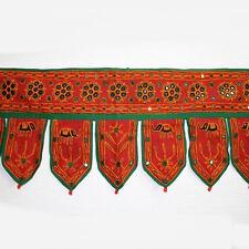 Türbehang Thorang Rajasthan spiegel-bestickt Wandbehang Indien Türschmuck Rot
