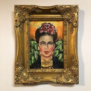 Original Art Frida Kahlo Portrait painting Latino Woman Intense Flowers