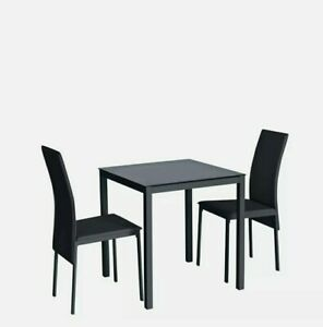 Lido Glass Dining Table & 2 black Chairs